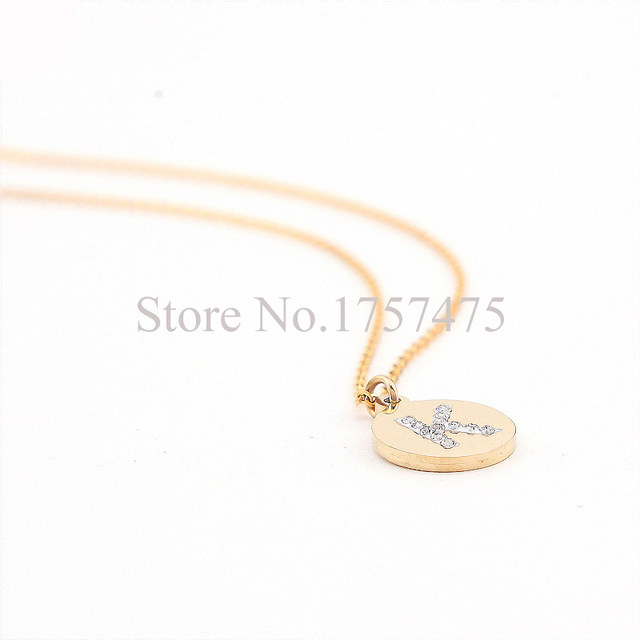 Online shop tdiyj high quality stainless steel initial necklace tdiyj high quality stainless steel initial necklace discs charm k letter friendship gifts golden round pendant necklace 2pcs mozeypictures Gallery