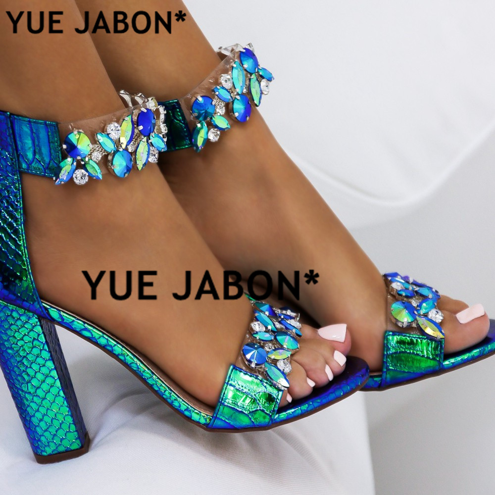 YUE JABON Big Size 43 Women Heeled Sandals Big Rhinestone Ankle Strap Pumps  Square Heels Lady Shoes Elegant Party Shoes Women-in High Heels from Shoes  on ... 3b573f06bf91