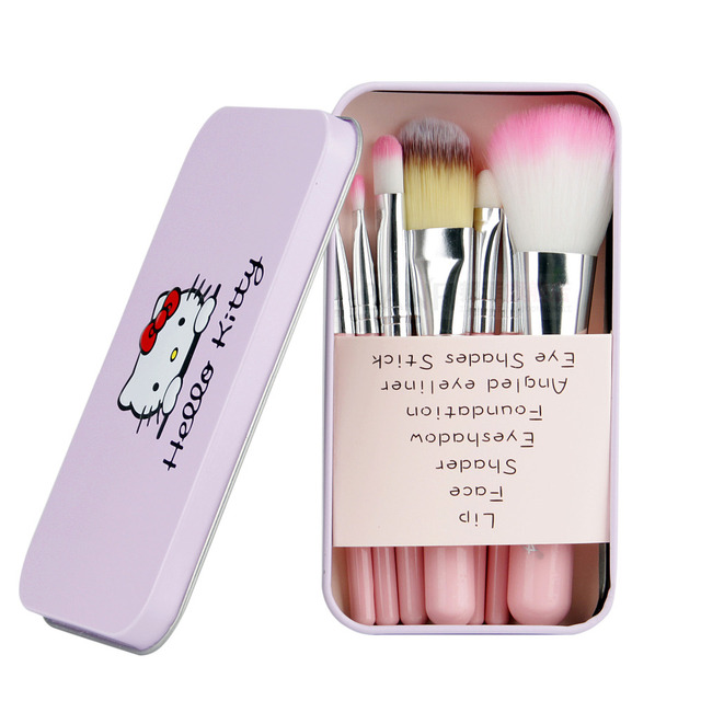 44c470aaa Brand New Hello Kitty 7Pcs Makeup Brush Set Make Up Powder Brushes Kit With  Pink Color Metal Box Cosmetics Eyeshadow Brush