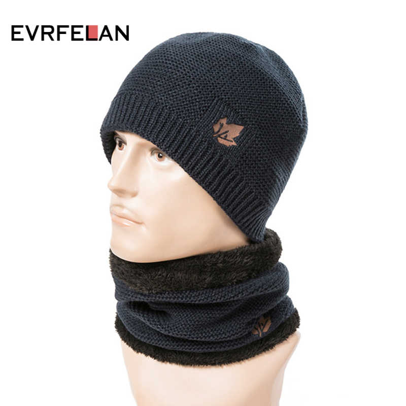 2e8c11f7a0f212 2019 Fashion Men's Winter Hat Knitting Beanies Hats Men Hip-Hop Cap Ring  Scarf Thick