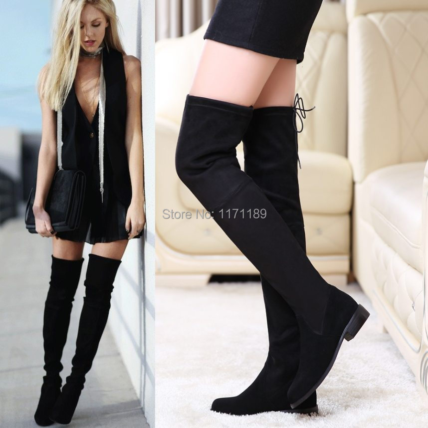 2c226069cac Womens Leather Thigh High Boots Flats Oxfords Slim Leg Tall Calf Over the  Knee Booties Party Pumps Casual Shoes size 5 6 7 8
