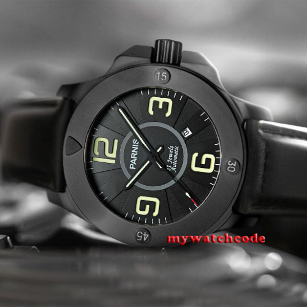 47mm Parnis black dial PVD case Sapphire Glass miyato Automatic mens Watch 571