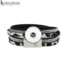 Fashion Pu Leather Magnet Bangle Leopard Bracelet 134 Crystal 18mm Snap Button Interchangeable Charm For Women Gift