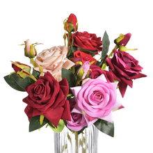 3 Heads Artificial Flowers Peony Bouquet Silk Bridal Fall Vivid Fake Rose for Wedding Home Party Decor