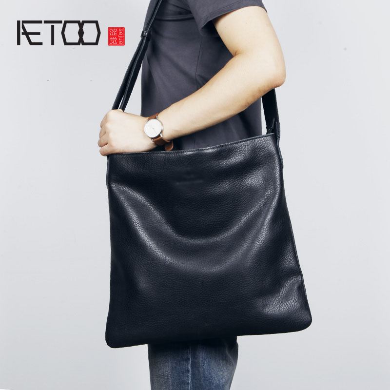 AETOO Mens Leather Large crossbody bag simple Japanese cowhide single shoulder bag large capacity soft leather bagAETOO Mens Leather Large crossbody bag simple Japanese cowhide single shoulder bag large capacity soft leather bag
