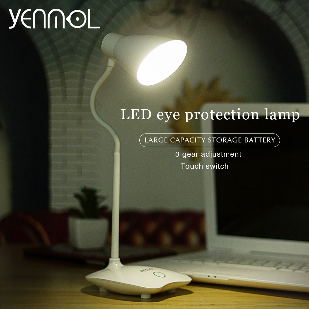 Yenmol LED Light Desk Lamps Desktops Lighting led Table Lamps with Clip Touch Switch Dimmable USB Rechargeable Reading Lamps