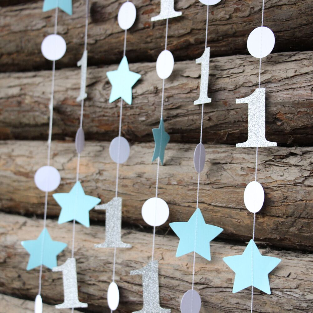2pieces Lot 1st Birthday Decorations Paper Star Garland Decor Boy Blue Silver Girl Pink Gold In