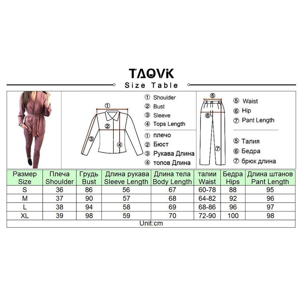 Image 5 - TAOVK Office Lady Pant Suits Womens Sets Belt Blazer top and  pencil pants two piece outfits femme ensemble Pantsuit Spring 2019piece  set2 piece set2 piece pants sets
