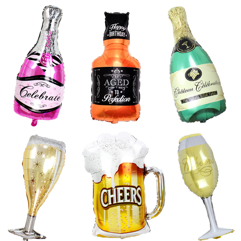 1pcs Big Size Cheers Beer Mug Cup Foil Air Balloons For Birthday Whisky Bottle champagne helium Globos Bar Decor Party Supplies