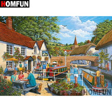 HOMFUN 5D DIY Diamond Painting Full Square/Round Drill Country scenery Embroidery Cross Stitch gift Home Decor Gift A08434