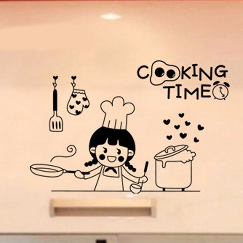 Happy cooking time vinyl wall stickers for kitchen art for Best brand of paint for kitchen cabinets with wall art vinyl stickers