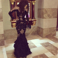 Doragrace Applique Beaded Long Sleeve Evening Dress Mermaid Prom Gown Black Feather Evening Dresses