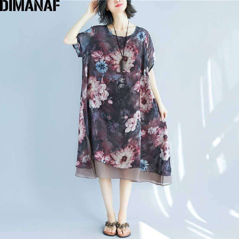 DIMANAF Women Dress Summer Plus Size Chiffon Beach Holiday Vestidos Loose  Print Floral Female Lady Casual a6ef8e262b88