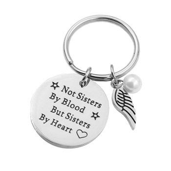 "VILLWICE Best friends keychain keyring ""not sisters by blood but sisters by heart"" friendship jewelry gift for women girls"