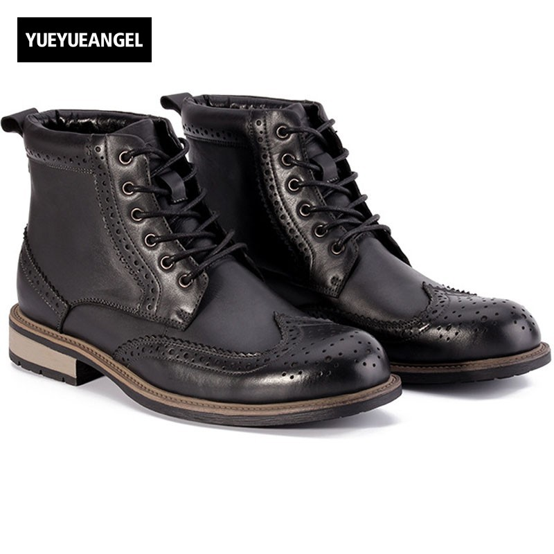 Retro British Wing Tip Brogue Shoes Men Lace Up Round Toe Punk Motorcycle Biker Leather Ankle Boots Winter Male High Top Shoes туфли felicia ecco ecco mp002xw0ewuz
