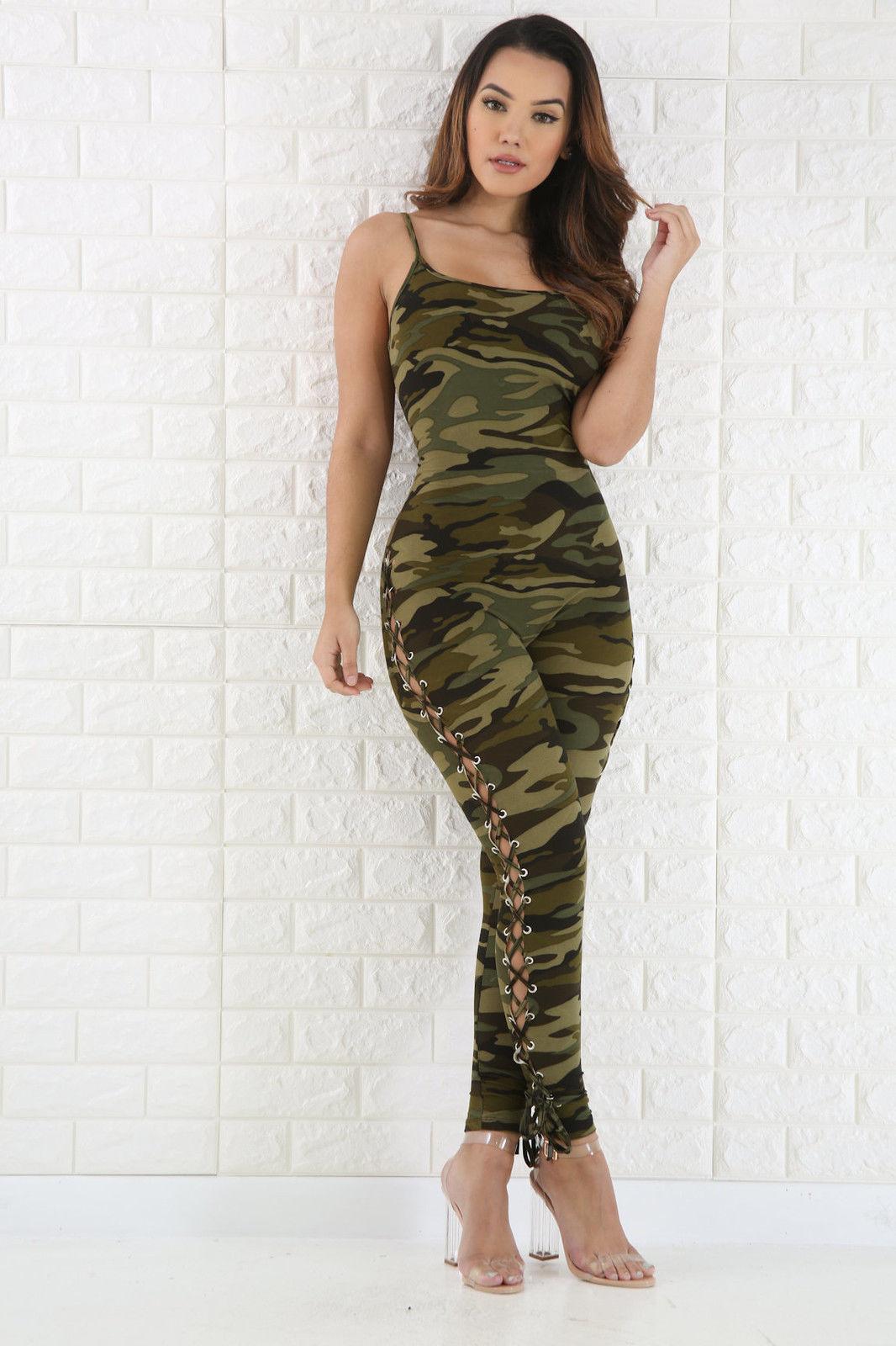 2017 Frauen V-ausschnitt Camouflage Print Overall Damen Abend Nightout Party Side Lace Up Overall Um 50 Prozent Reduziert
