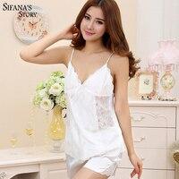 Women Silk Pyjama Satin Pijamas Sexy Sleeveless Homewear Plus Size Sleepwear Sexy Lace Pajamas Set V