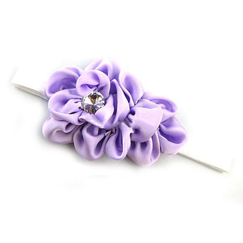 Best Sale Bandeau des Fleurs pour Bebes Filles Mousseline de Soie Beaute(Violet)