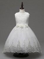 ילדי אופנה ילדי ג 'וניורס ילדה פרח שמלה לבנה צד גבוה נמוך נשף שמלות ערב רשמיות תחרות לילדות קטנות