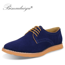 BIMUDUIYU Brand Plus Size 47 Men Casual Leather Shoes Oxfords Suede Flats Spring Autumn Fashion Classic