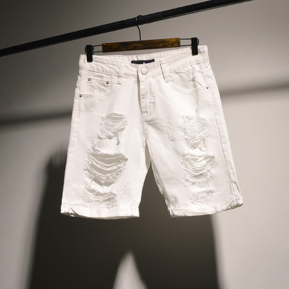 Mens Ripped White Shorts - The Else
