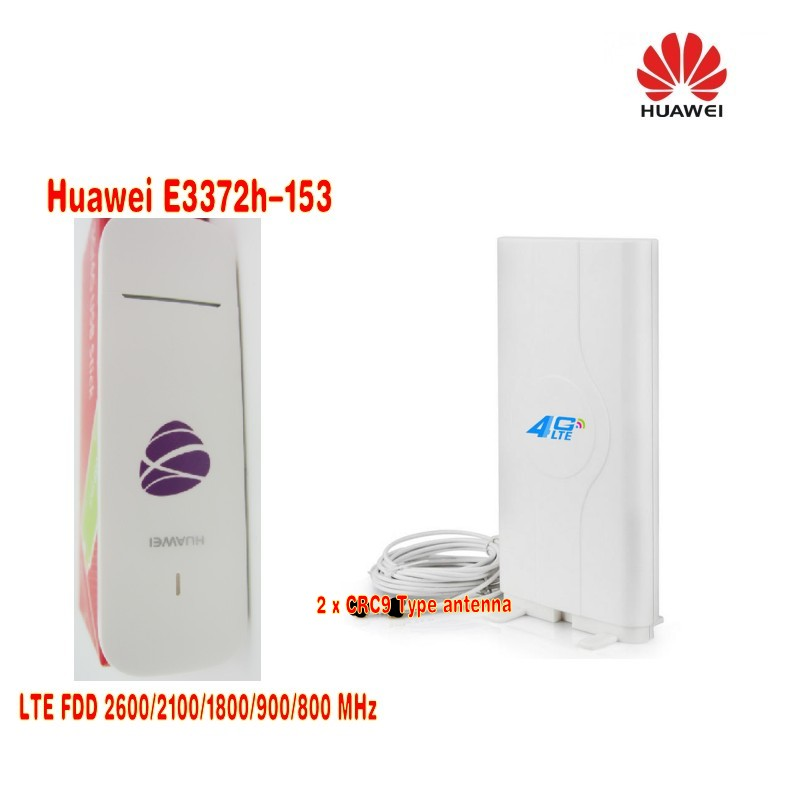 Unlocked Huawei E3372 E3372s-153 4G LTE USB Dongle USB Stick Datacard plus 4G 49dbi LTE Crc9 antenna huawei k5005 4g lte wireless modem 100mbps unlocked 4g dongle