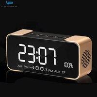 Metal Steel Bluetooth Speaker Wireless HIFI Mirror LED Stereo Subwoofer Deep Bass Alarm Clock FM Amplifier