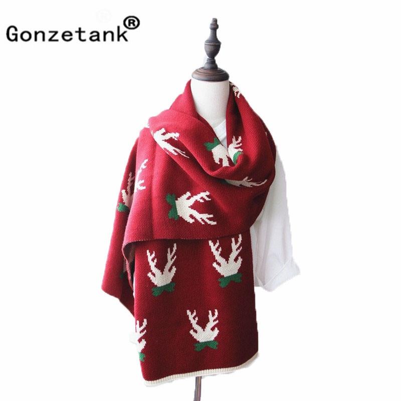 Gonzetank Luxury Brand 2017 New Womens Long Christmas Gift Couple Deer Warm Multifunctional Fashion Scarfs and Shawl 175*40cm