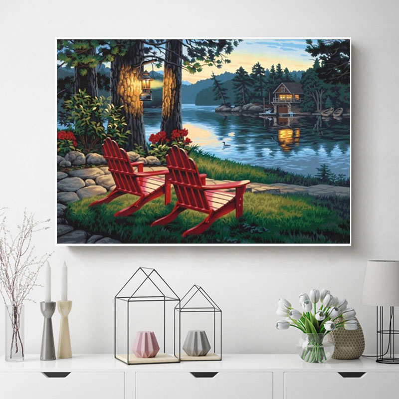 5D DIY diamond painting red beach evening scenery full drill square round diamond embroidery cross stitch mosaic picture in Diamond Painting Cross Stitch from Home Garden