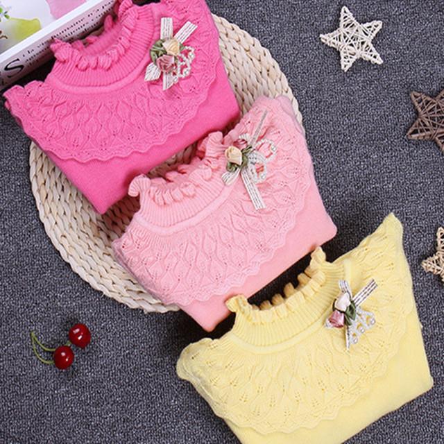 Moda Suéter de Las Muchachas de Encaje de Algodón Floral Camiseta de Las Muchachas de Suéter de Lana Bebé Caliente 2017 Casual Primavera Otoño Niños Tops Ropa hx032