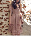 2016 New arrive pink lace flower dress