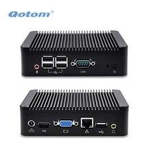 QOTOM Mini PC Q100N с Celeron 1037u двухъядерный процессор 1.8 ГГц, Barebone мини-ПК с последовательным Порты и разъёмы