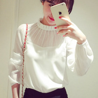 2016 Fashion All-Match Women Blouses New Plus Size Casual Chiffon Shirts Tops Autumn Sexy Lace Full Sleeve Stand Collar Blusas