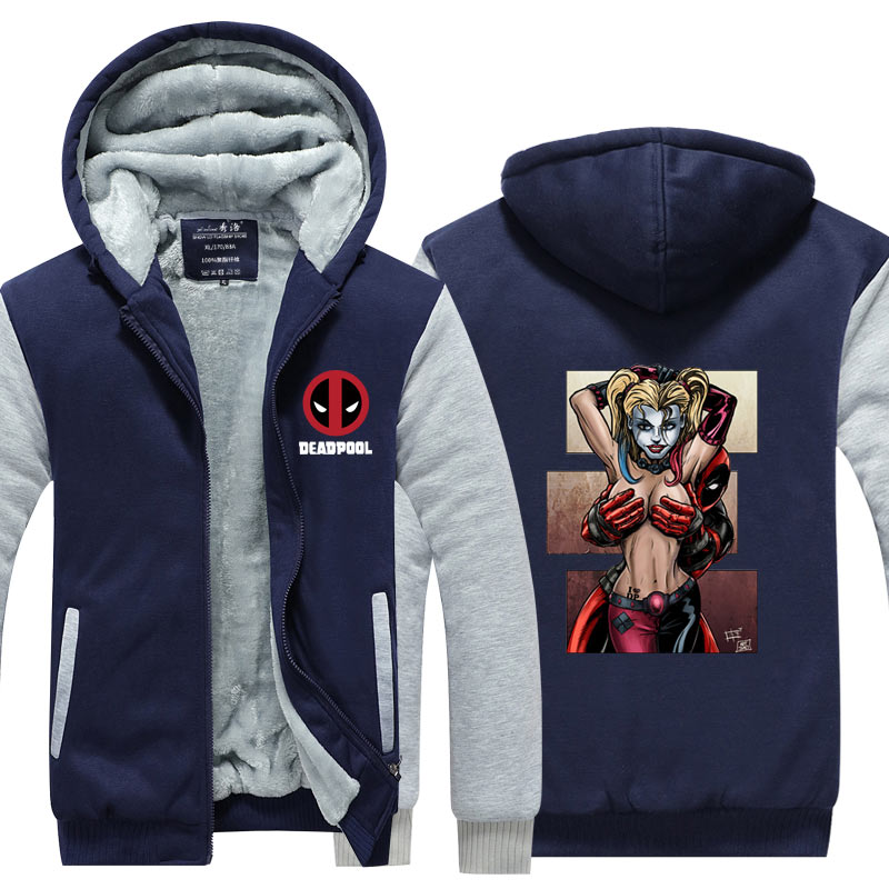 49dfdd4a89e Deadpool With Hot Lady Harley Quinn Jacket Novelty Men Thicken Zipup Hoodies  Funny Sweatshirt USA size Plus size-in Hoodies   Sweatshirts from Men s ...