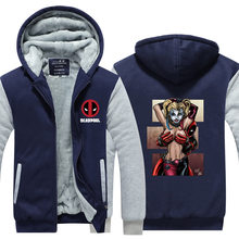 Deadpool With Hot Lady Harley Quinn Jacket Novelty Men Thicken Zipup Hoodies Funny Sweatshirt USA size Plus size