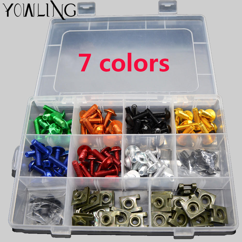 7 colors M6 Motorcycle Fairing Bolts Nuts Screws Washer Kit Fastener Clips Screws Aluminum For Yamaha YZF R6 R3 R1 1999-2015 kemimoto r6 motorcycle complete full set of fairing bolts bolt kit body screws for yamaha yzf r6 2006 2007 r6