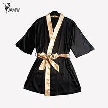 Для женщин шелковый атлас Короткие ночной халат одноцветное кимоно халат Мода Ванны халат сексуальный Ванны халат peignoir Femme свадебные туфли невесты Халат