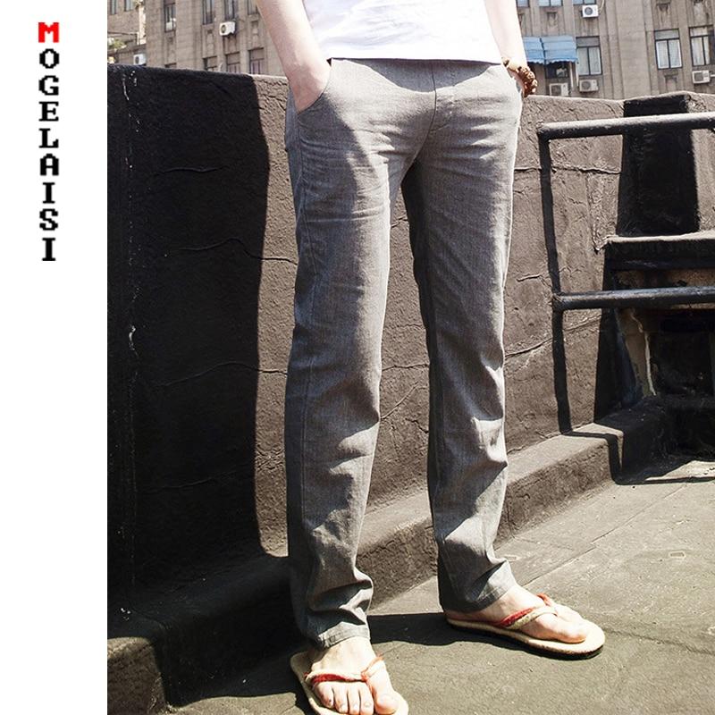 2019 Flax Pants Men Full Linen Cotton Pants Waistline Range 70-112cm Drawstring Solid Trousers Men Linen Pants Asian Size M-3XL