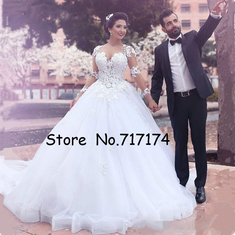 ScoopTulle Neckless Full Sleeves Ball Gown Applique Wedding Dress Illusion Back Beading Court Train Bridal Dress