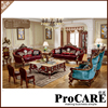 Hand Carved Luxury French Baroque Style Living Room Classic Royal Fabric Sofa Set 1 2 3