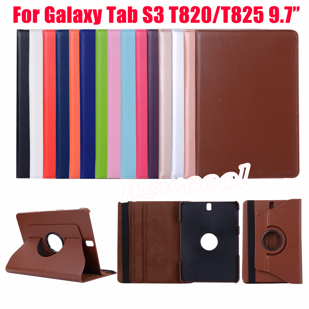 360 Rotating Folio PU Leather Skin Case Flip Cover For Samsung Galaxy Tab S3 T820 T825 9.7 inch SM-T820 SM-T825 Tablet Case new fashion tab s3 9 7 tablet case pu leather flip cover for samsung galaxy tab s3 9 7 inch t820 t825 cute stand cover 6 colors
