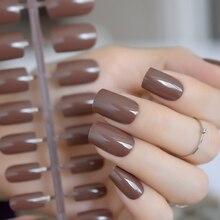 Кофейный коричневый накладные ногти шоколадный УФ-эффект поддельные ногти полное покрытие средней длины квадратные ABS искусственные Сделай Сам ногти маникюр