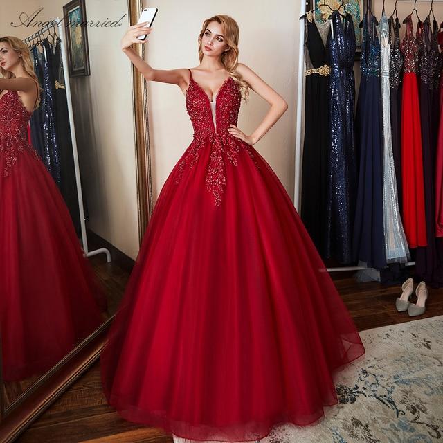 Ange marié Robes de Soirée mode 2018 Nouvelle appliques dentelle robes de bal femmes perlées robe de soirée formelle robe de fête
