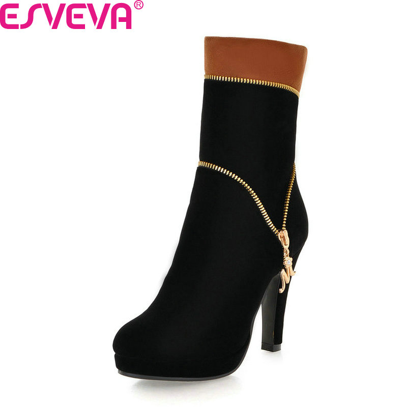 ESVEVA 2018 Women Boots Suede Zipper Square High Heels Mid-calf Boots Short Plush Round Toe Ladies Fashion Boots Size 34-39 esveva 2019 women shoes mid calf boots round toe med heels winter boots short plush slip on height increasing snow boots 34 43