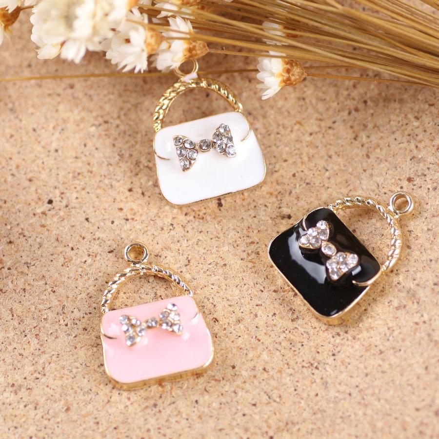50PCS New Jewelry Metal Charms Gold Tone Plated Rhinestone Bow Decoration Diy Bracelet Charm Fashion Handbag Shape Alloy Pendant
