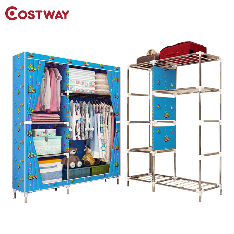COSTWAY Cloth Wardrobe For clothes Fabric Folding Portable Closet Storage Cabinet Bedroom Home Furniture armario ropero muebles portable clothes storage