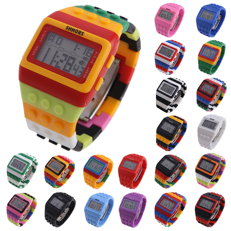 Hot Children's Watches Digital LED Chic Unisex Farverige Constructor blokke Sport børn ure håndled drenge student ur gave