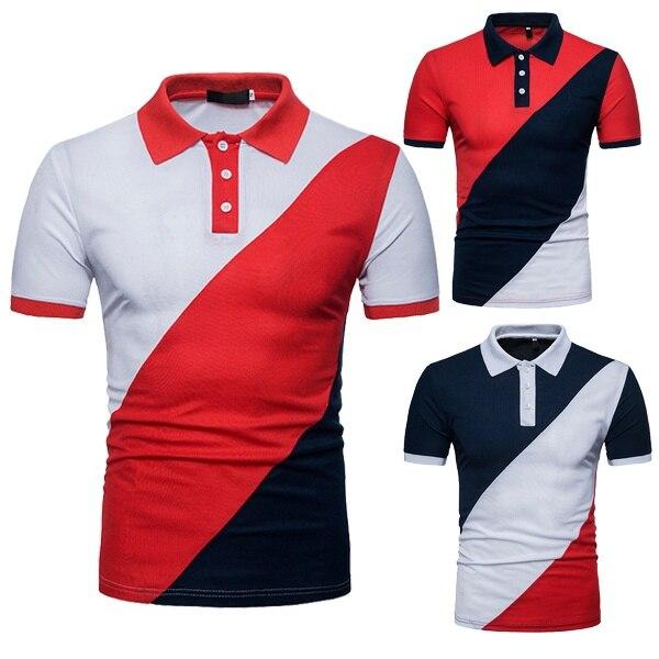ZOGAA Men Short Sleeve   Polo   Shirt Patchwork Color Casual Turn-down Collar Undershirt Slim Fit Men Designer   Polo   Shirts Big Size