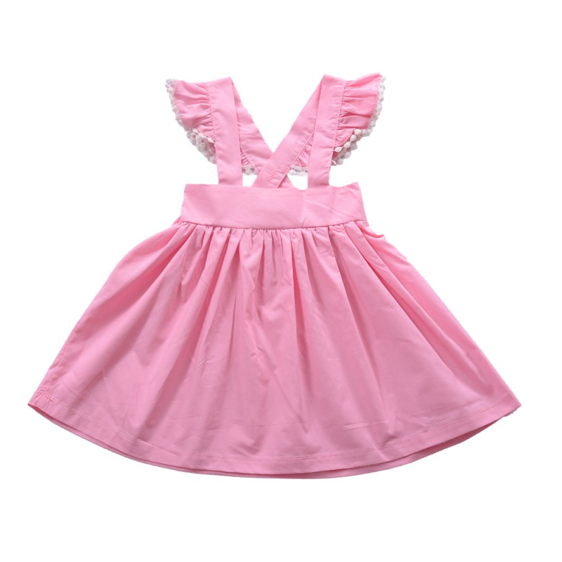 2017 New High Quality Pink braces girls dresses Baby Girl Princess Dress kids girls clothing summer children party dresses