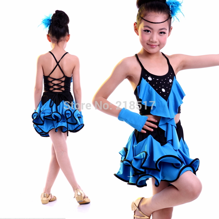 Child Tulle Latin Dress Girl Dance Performance Wear Stage